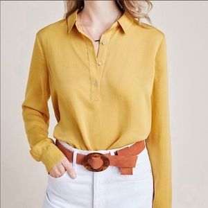 Anthropologie Dolan Mustard Button-Up Tunic